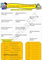 Nine speaking cards to talk about daily routines. Eight of them are completed, the ninth one is for students own day.  - ESL worksheets