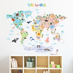 Animal World Map Wall Stickers (XLarge)