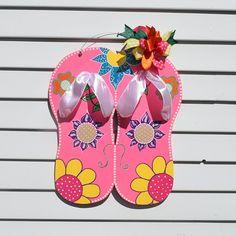 Flip Flops Door Hanger, Flower Flip Flops, Floral Flip Flop Door Decor, Spring Summer Door Wreath, Yard Stake