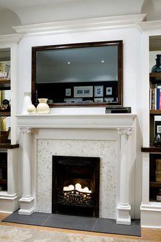 Genius Mirror TV Design For Living Room - Onechitecture Living Room Tv, Living Room With Fireplace, Home And Living, Small Living, Modern Living, Tv Over Fireplace, Fireplace Ideas, White Fireplace, Fireplace Design