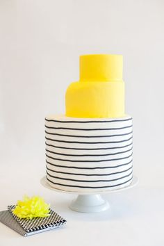 Interesting shape and use of color and line. yellow stripe cake / via Brooklyn Bride Gorgeous Cakes, Pretty Cakes, Amazing Cakes, Cupcakes, Cupcake Cakes, Striped Cake, Watermelon Cake, Wedding Cake Inspiration, Mellow Yellow