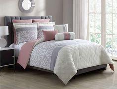 8 Piece Bradlie Gray/Blush Bed in a Bag Set #KingLinen #ContemporaryModernPatternedFloral