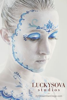 Body Art by Lana Chromium San Diego, Photography by Diana Luckysova  abstract, art, blue, body-art, bodyart, color, cosmetics, covering, elegance, expression, face, make-up, gzhel, young, ornament, magic, symbol, majestic, freedom, paint, actress, female, girl, face, body, color, doll, makeup, imagination, beauty, skin, beautiful, artist, russian, artbychromium, lana chromium, san diego bodyart, san diego body painter, bodyart by Lana Chromium, bodyart photoshoot, doll make up, doll costume