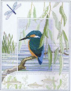 """Kingfisher Cross Stitch Kit - Derwentwater Designs - 10.6 x 13.5"""" - 14 Count"""