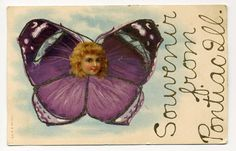 Used, but the postmark year is illegible. A great fantasy image of a girls face inside a colorful butterfly outlined with glitter. Someone wrote