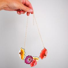 Could do on Shrink Plastic! Poppy Necklace by ByMadelineTrait on Etsy