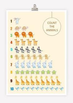 Count The Animals number wall art poster Children by TIMNAGREENART