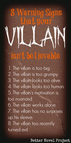 Warning Signs Your Villain Isn't Believable, based on Voldemort and President… Writer Tips, Book Writing Tips, Writing Quotes, Fiction Writing, Writing Resources, Writing Help, Writing Prompts, Writing Characters, Writers Write