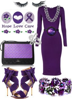 """Purple for Alzheimer's research"" by tara282000 ❤ liked on Polyvore"