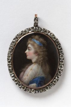 Oval portrait miniature of Georgiana, Duchess of Devonshire, shown bust length facing in profile to the left with blond hair and wearing a blue and white dress. The oval gold rim frame is set with diamonds. Hone used a portrait of Georgiana with her good friend Lady Elizabeth Foster as the basis for his enamel portrait. Painted 6 years after her death, this may have been made for someone with a personal connection to, or particular admiration for the Duchess. | Hone, Horace | V&A