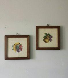 Fruit Wall Art, Framed Needlepoint, Vintage Crewel, Fruit Art, Crewel Embroidery, Framed Cross Stitch Wall Art, Framed Embroidery, Fruit Decor Fruit Wall Decor by ShopMidCenturyModest