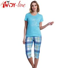 Poze Pijamale Vienetta Secret, Bumbac 100%, 'Good Morning' Blue