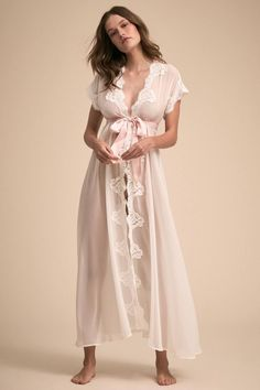 3dc82c5b9295 The Danika Robe in ivory is the perfect semi sheer chiffon robe, trimmed in  lace and paired with a blush satin sash