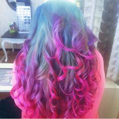 My blue, purple, pink hair(: ion colors:: CleoMoonxx
