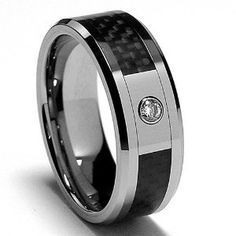 8MM Men's Tungsten Carbide REAL DIAMOND Ring .065 Carat Wedding Band With Carbon Fiber Inaly Size 8