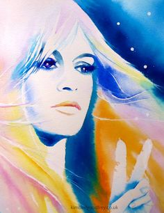 Brigitte Bardot Original Watercolour Painting by KimberlyGodfrey