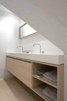 contemporary bathroom vanity double basin in white and pale blonde wood | by…