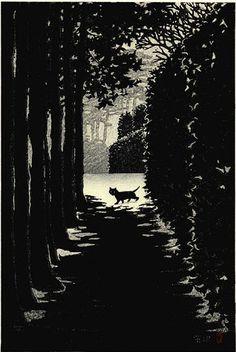 """By Shiro Kasamatsu (1898-1991), 1958, """"Moonlit Night""""."""
