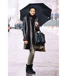 This is so my style. Always zillions of layers. Black boots. Huge black bag. But being in Cali, big black sunnies instead of the umbrella!