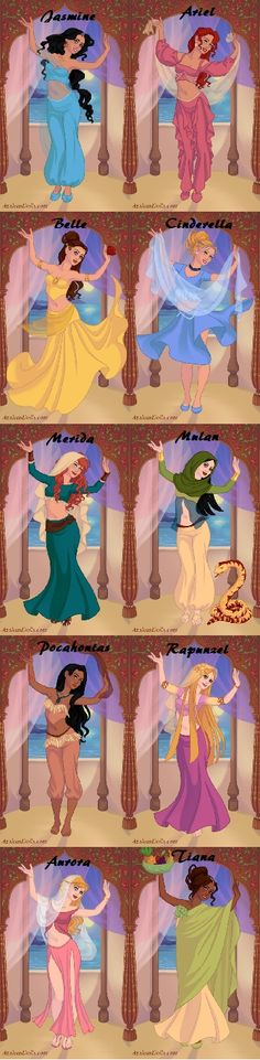 Disney princesses in indian dencer style. Azalea's Dress up Dolls.