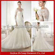 Wd-2219 Stunning Bateau Neckline Sheer Covere Back Latest Long Sleeve Wedding Gowns 2013 Long Sleeve Lace Wedding Dress Patterns - Buy Long ...