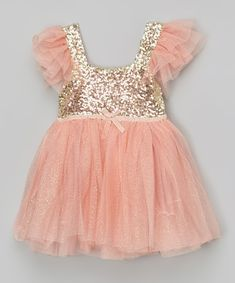 Also in Ivory and gold - would be gorgeous for a photo shoot outfit! Designs by Meghna Light Coral Glitter Dress - Infant, Toddler & Girls