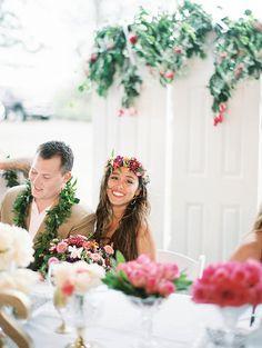 Photo from Jenn + Matt collection by Ashley Goodwin. Floral by Stacey Kaluahine Ochoa, Kauai Hi