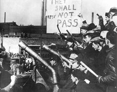 """They Shall Not Pass"" - Chrysler strikers warn away scab workers.   Photo credit: King's Academy  Does anyone know when this photo was taken?"