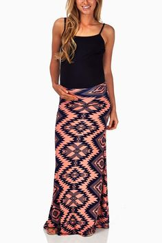 Coral-Navy-Blue-Tribal-Print-Maternity-Maxi-Skirt