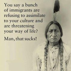 You say a bunch of immigrants are refusing to assimilate to your culture and are threatening you way of life? Man, that sucks! American Indian Quotes, Native American Wisdom, Native American History, American Indians, American Meme, American Spirit, Native Quotes, Native Humor, Way Of Life