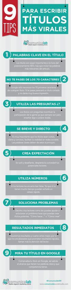 infografía títulos virales. Para captar la atención y difundir tu mensaje. http://trascendiendo.net