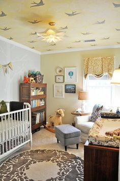 Nature-Inspired Nursery- love the rug! soft colors on neutral base