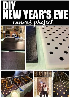 Stenciled Canvas Project | Polka Party Stencil | New Year's Eve Party Ideas by House of Rose http://houseofroseblog.com/new-years-eve-party-ideas/