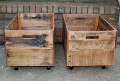 Set of 2 Large Rolling Wooden Crates from by LooneyBinTradingCo, $142.00