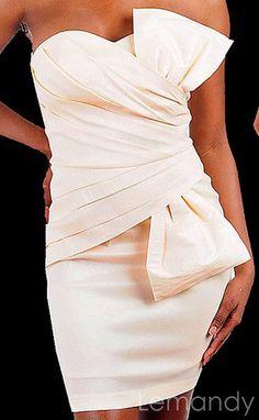 short strapless sweetheart sheath taffeta wedding dress with big bow. $192.00, via Etsy.