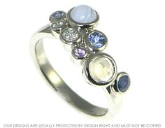 Palladium bubble inspired ring with moonstone, sapphires, diamonds and blue lace agate ~ Harriet Kelsall Jewellery Design
