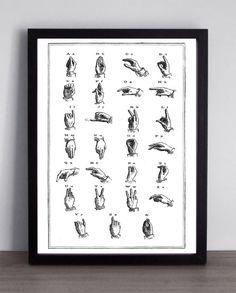 ART PRINT Sign Language Alphabet Hand Letters Languages Illustration Antique Curiosity Vintage Book Page Black White Typography Poster by MrArtPrint on Etsy https://www.etsy.com/listing/230050925/art-print-sign-language-alphabet-hand