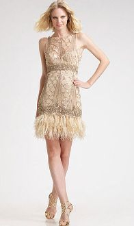 Sue Wong boatneck feather dress