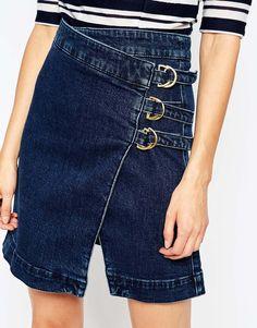 Image 3 ofASOS Denim Aline Wrap Mini Skirt With Buckles