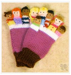 Knitted Mittens Pattern, Knit Mittens, Knitted Gloves, Crochet Pattern, Glove Puppets, Hand Puppets, Finger Puppets, Puppet Patterns, Knitting Patterns