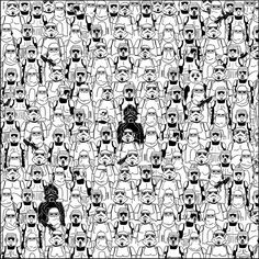 There is no panda in Star Wars, but there is in this picture, believe it or not. Find the Panda,. Oscar Trophy, Stormtroopers, Lego Stormtrooper, Image Panda, Anniversaire Star Wars, Can You Find It, Wheres Wally, Star Wars Personajes, Hidden Pictures