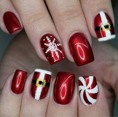 Designer nails can really make you look fashionable and chic. Nail art is one way to make your nails look really good and it lets you experiment with as many designs as the occasions or seasons demand. Nail art is best done by a professional, but you Xmas Nail Art, Cute Christmas Nails, Christmas Nail Art Designs, Xmas Nails, Winter Nail Designs, Holiday Nails, Cool Nail Art, Christmas Design, Christmas 2017