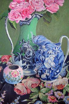 Kaffe Fassett...blues and pinks and greens...#still life