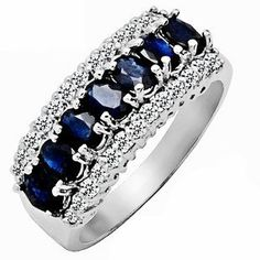 2.15ct Genuine Natural Sapphire Gemstone and Diamond 10k White Gold Ring(Limited Edition)