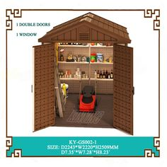 Double rooms garden plastic shed with middle size room is designed for bicycle and lawn mover. It also can be use to store different kinds of garden tool products. Outdoor Garden Sheds, Outdoor Storage Sheds, Backyard Sheds, Plastic Storage Sheds, Plastic Sheds, Resin Sheds, Large Storage Cabinets, Window Sizes, Tool Sheds