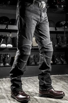 Motorcycle Riding Jeans Pants with Knee Protect Pad ( Black )