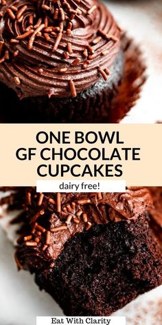 These gluten free chocolate cupcakes are an easy one bowl recipe and SO moist and fluffy. With a simple dairy free buttercream, these rich chocolate cupcakes are made in one bowl and perfect for any occasion. I promise you'd never tell these cupcakes are gluten free! #cupcakes #glutenfreecupcakes #chocolatecupcakes