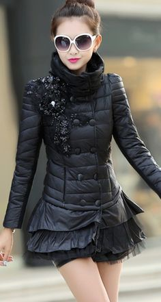Stylish Down Coat with Embroidered Flower and Turtleneck YRB0391 £42.00 #cutecoat