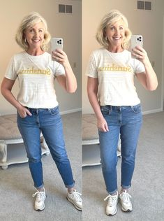 denim, sneakers, Madewell, tee shirts, summer fashion Summer Denim, 21st Dresses, Tee Shirts, Tees, Summer Looks, Talbots, Fashion Shoes, Mom Jeans, Denim Sneakers
