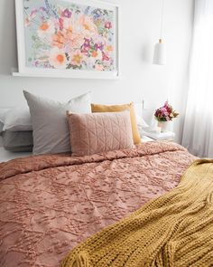 Autumn styled bedroom, pink and autumn bedroom, floral artwork, autumn style bedroom, rust coloured bedding Pink Bedroom Decor, Bedroom Artwork, One Bedroom, Floral Bedroom, Bed Room, Mustard Bedroom, Mustard Bedding, Gray Bedding, Queen Bedding